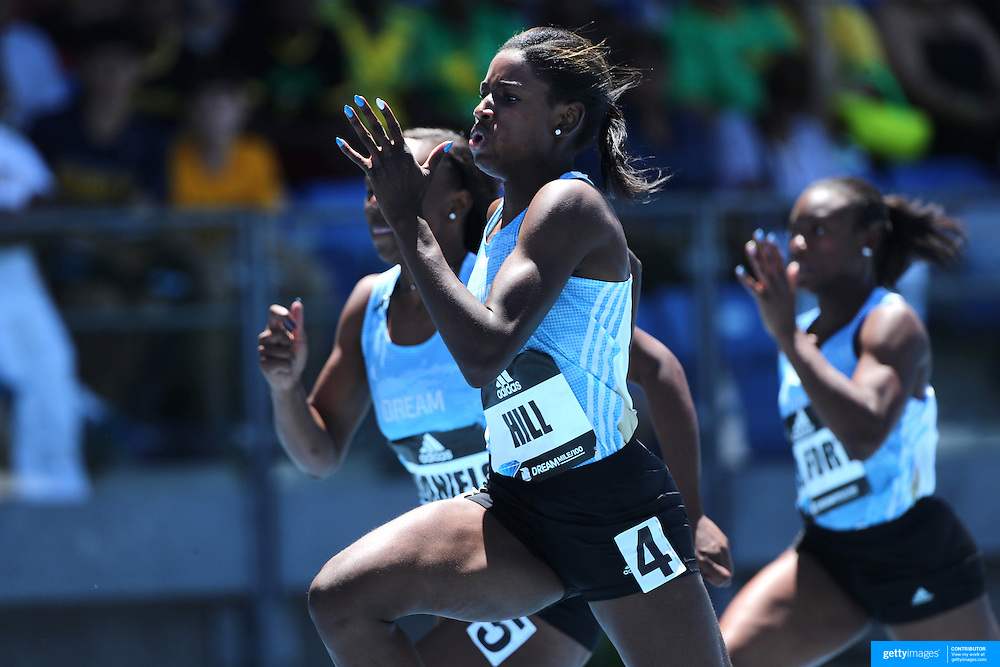Candace Hill, USA, winning the 100m Women's Girls Dream Competition during the Diamond League Adidas Grand Prix at Icahn Stadium, Randall's Island, Manhattan, New York, USA. 13th June 2015. Photo Tim Clayton