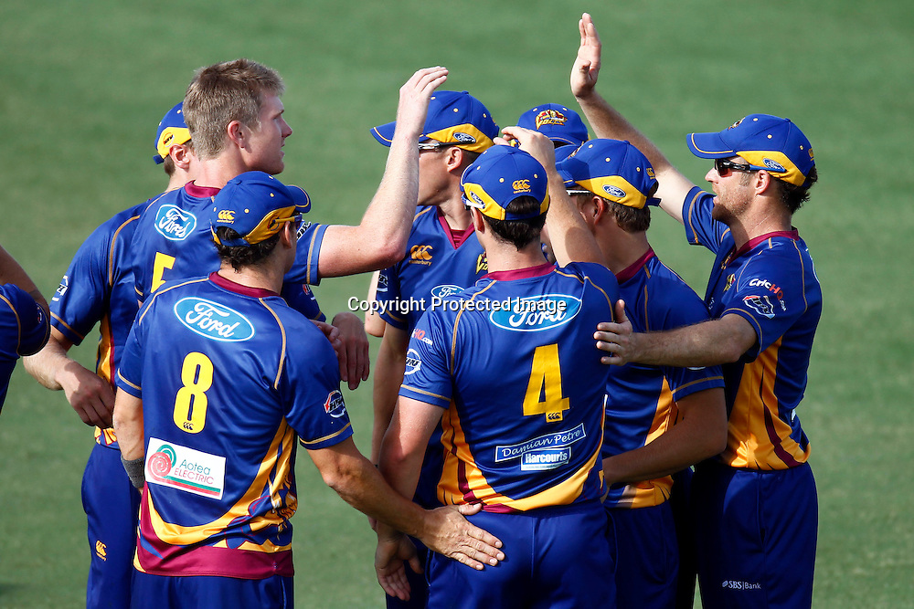 Otago Volts celebrate during the HRV Cup match between the Auckland Aces v Otago Stags. Men's domestic Twenty20 cricket. Colin Maiden Park, Auckland, New Zealand. Friday 6 January 2012. Ella Brockelsby / photosport.co.nz