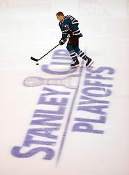 April 16, 2010; San Jose, CA, USA; San Jose Sharks center Joe Pavelski (8) warms up before game two in the first round of the 2010 Stanley Cup Playoffs against the Colorado Avalanche at HP Pavilion.  The Sharks defeated the Avalanche 6-5 in overtime. Mandatory Credit: Jason O. Watson / US PRESSWIRE