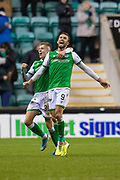 Christian Doidge (#9) of Hibernian FC scores his third goal and runs away to celebrate with Fraser Murray (#33) of Hibernian FC during the William Hill Scottish Cup fourth round match between Hibernian FC and Dundee United FC at Easter Road Stadium, Edinburgh, Scotland on 28 January 2020.