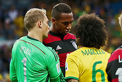 08.07.2014, Mineirao, Belo Horizonte, BRA, FIFA WM, Brasilien vs Deutschland, Halbfinale, im Bild Discussions<br /> vl. Manuel Neuer (GER), Jerome Boateng (GER) und Hulk (BRA) // during Semi Final match between Brasil and Germany of the FIFA Worldcup Brazil 2014 at the Mineirao in Belo Horizonte, Brazil on 2014/07/08. EXPA Pictures © 2014, PhotoCredit: EXPA/ Eibner-Pressefoto/ Cezaro<br /> <br /> *****ATTENTION - OUT of GER*****