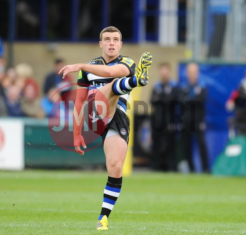Bath's George Ford kicks off.  - Mandatory byline: Alex Davidson/JMP - 07966 386802 - 17/10/2015 - RUGBY - The Recreation Ground - Bath, England - Bath Rugby v Exeter Chiefs - Aviva Premiership