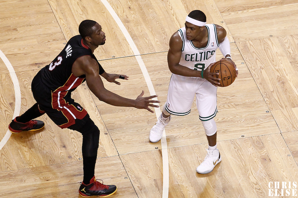 03 June 2012: Miami Heat shooting guard Dwyane Wade (3) defends on Boston Celtics point guard Rajon Rondo (9) during the first quarter of Game 4 of the Eastern Conference Finals playoff series, Heat at Celtics, at the TD Banknorth Garden, Boston, Massachusetts, USA.