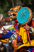 WANGDUE PHODRANG, BHUTAN - CIRCA OCTOBER 2014: Mask performer dancing during the Tshechu Festival inl Bhutan