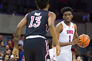DALLAS, TX - JANUARY 04:  Shake Milton #1 of the SMU Mustangs brings the ball up court against Quinton Rose #13 of the Temple Owls during a basketball game on January 4, 2017 at Moody Coliseum in Dallas, Texas.  (Photo by Cooper Neill/Getty Images) *** Local Caption *** Shake Milton; Quinton Rose