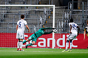 STOCKHOLM, SWEDEN - MARCH 12: Peter Abrahamsson of BK Hacken makes a save on a shot from Tinotenda Kadewere of Djurgardens IF  during the Swedish Cup Quarterfinal between Djurgardens IF and BK Hacken at Tele2 Arena on March 12, 2018 in Stockholm, Sweden. Photo by Nils Petter Nilsson/Ombrello<br /> ***BETALBILD***