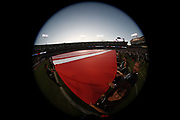 Wide angle of the National Anthem and flag as the Oakland Raiders prepare for action during the 2018 regular season week 1 NFL football game against the Los Angeles Rams on Monday, Sept. 10, 2018 in Oakland, Calif. The Rams won the game 33-13. (©Paul Anthony Spinelli)