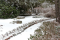 Winter view of the karesansui garden at the Asticou Azalea Garden, Northeast Harbor, Maine.