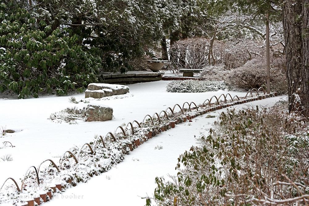 Winter view of the karesansui garden at the Asticou Azalea Garden, Northeast Harbor, Maine.