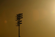 The silouette of the Hohokam baseball stadium lights as the sunsets in Mesa Arizona. With the regular season underway and spring training now over, we will have to wait another year before the lights once again light for the Chicago Cubs.