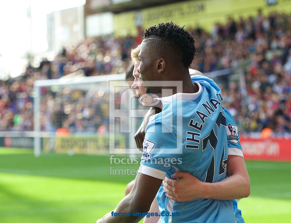 Kelechi Iheanacho (right) of Manchester City celebrates scoring the winning goal with Kevin De Bruyne during the Barclays Premier League match at Selhurst Park, London<br /> Picture by Alan Stanford/Focus Images Ltd +44 7915 056117<br /> 12/09/2015