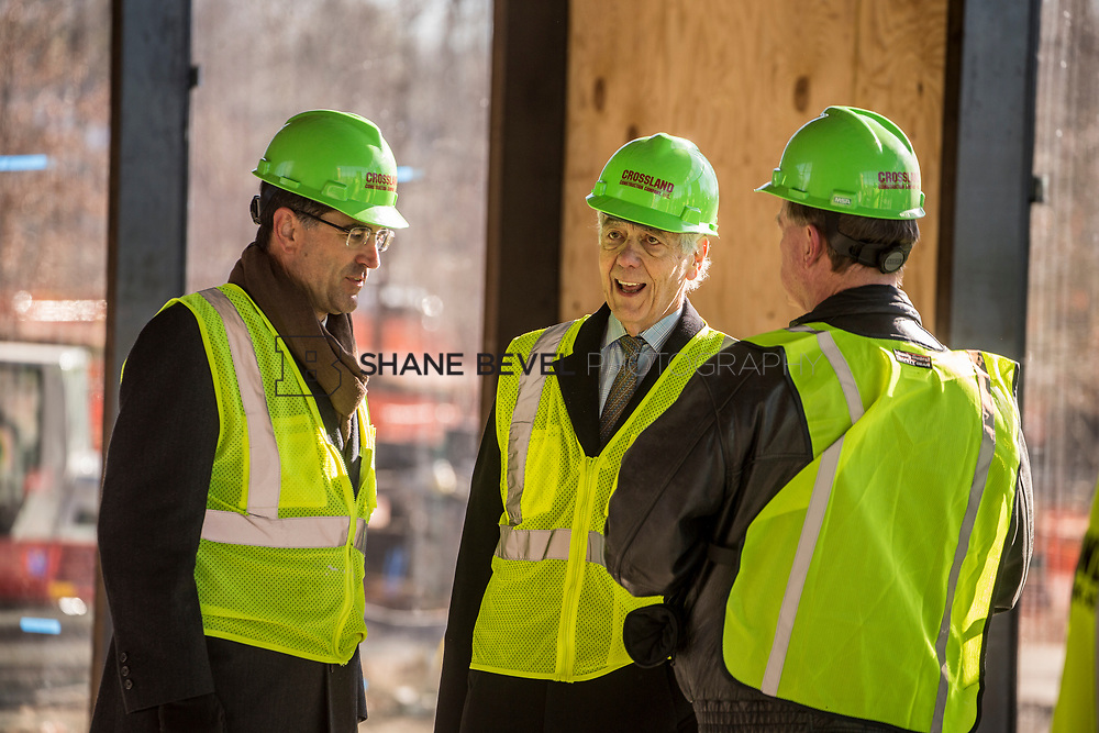 1/12/18 11:36:25 AM -- Halliburton CEO Jeff Miller and George Kaiser visit the Gathering Place for a press conference announcing Halliburton's support for the park. <br /> <br /> Photo by Shane Bevel