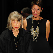 Author Joan Didion (L) with NHPR's Virginia Prescott after a Writers on a New England Stage program at The Music Hall in Portsmouth, NH