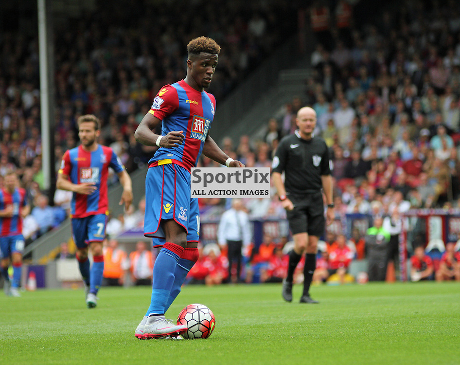 Wilfried Zaha on the ball During Crystal Palace vs Arsenal on Sunday the 16th August 2015.