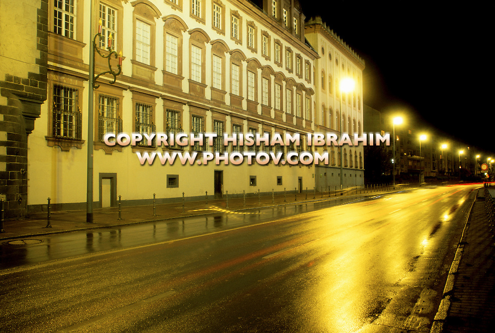 Empty Illuminated Street in Downtown Frankfurt, Germany