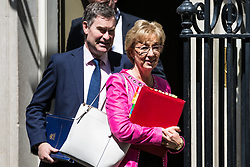 London, UK. 21 May, 2019. David Gauke MP, Lord Chancellor and Secretary of State for Justice, and Andrea Leadsom MP, Lord President of the Council and Leader of the House of Commons, leave 10 Downing Street following a Cabinet meeting.