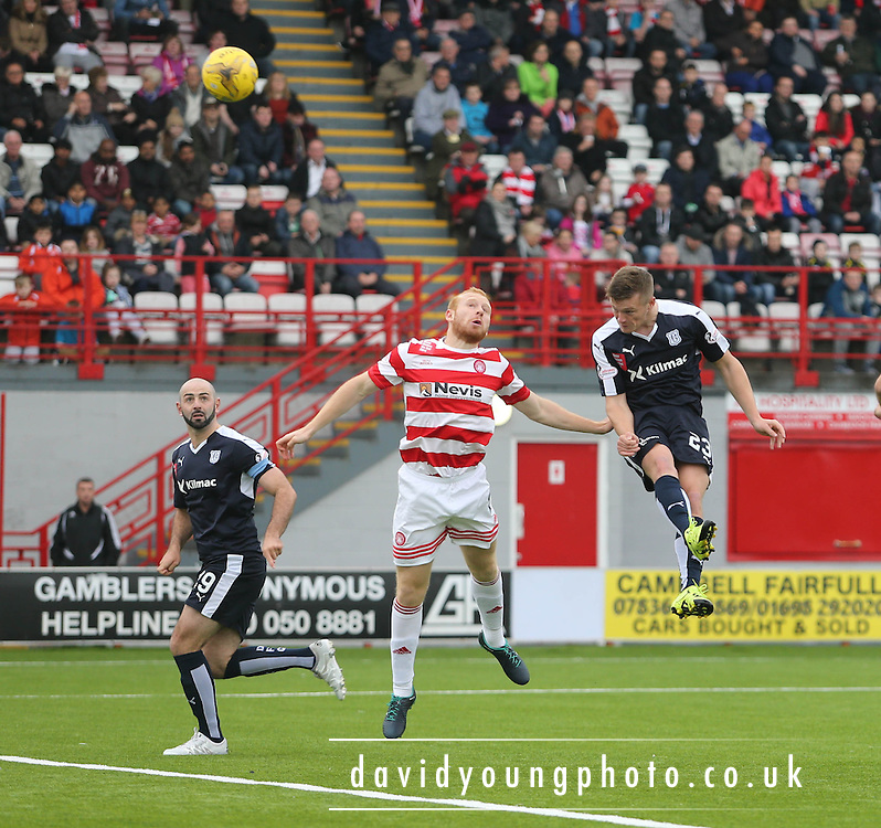 Rhys Healey head goalwards  - Hamilton Academical v Dundee, Ladbrokes Premiership at New Douglas Park<br /> <br /> <br />  - &copy; David Young - www.davidyoungphoto.co.uk - email: davidyoungphoto@gmail.com