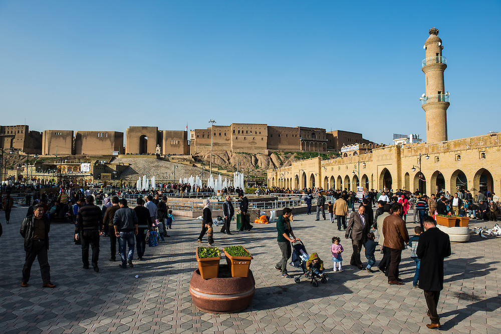 Huge square with water fountains below the citadel of Erbil or Hawler, capital of Iraq Kurdistan