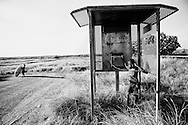 Romania is playing in a phone booth near Morgans Camp, which is the remain of an old Pearling Camp close to the main street of Broome,  and yes the phone is working. Broome, Western Australia ©Ingetje Tadros