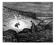 The Panther in the desert From the Divine Comedy by 14th century Italian poet Dante Alighieri. 1860 artwork, by French artist Gustave Dore and engraved by Stephane Pannemaker, from 'The Vision of Hell' (1868), Cary's English translation of the Inferno. Dante wrote his epic poem 'Divina Commedia' (The Divine Comedy) between 1308 and his death in 1321. Consisting of 14,233 lines, and divided into three parts (Inferno, Purgatorio, and Paradiso), it is considered the greatest literary work in the Italian language and a world masterpiece. It is a comprehensive survey of medieval theology, literature and thought. The new non-dialect poetic language Dante created became the basis of modern Italian.