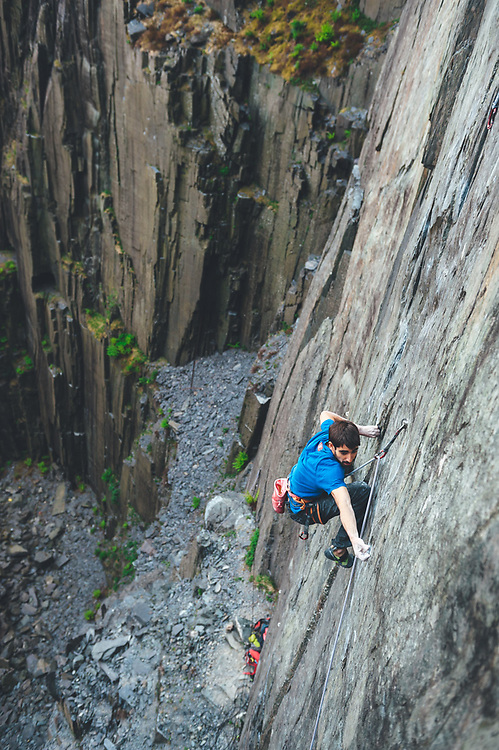"""Ignacio Mulero made the first repeat of """"The Meltdown""""  in Twll Mawr, Llanberies Slate Quarries in Snowdonia, North Wales."""
