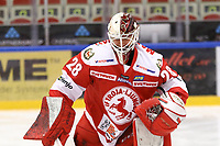 2020-02-12 | Ljungby, Sweden: Troja-Ljungby (28) Anton Svensson during the game between IF Troja / Ljungby and Huddinge IK at Ljungby Arena ( Photo by: Fredrik Sten | Swe Press Photo )<br /> <br /> Keywords: Ljungby, Icehockey, HockeyEttan, Ljungby Arena, IF Troja / Ljungby, Huddinge IK, fsth200212, ATG HockeyEttan, Allettan