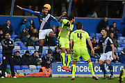 Birmingham City midfielder David Davis wins a header during the Sky Bet Championship match between Birmingham City and Huddersfield Town at St Andrews, Birmingham, England on 5 December 2015. Photo by Alan Franklin.