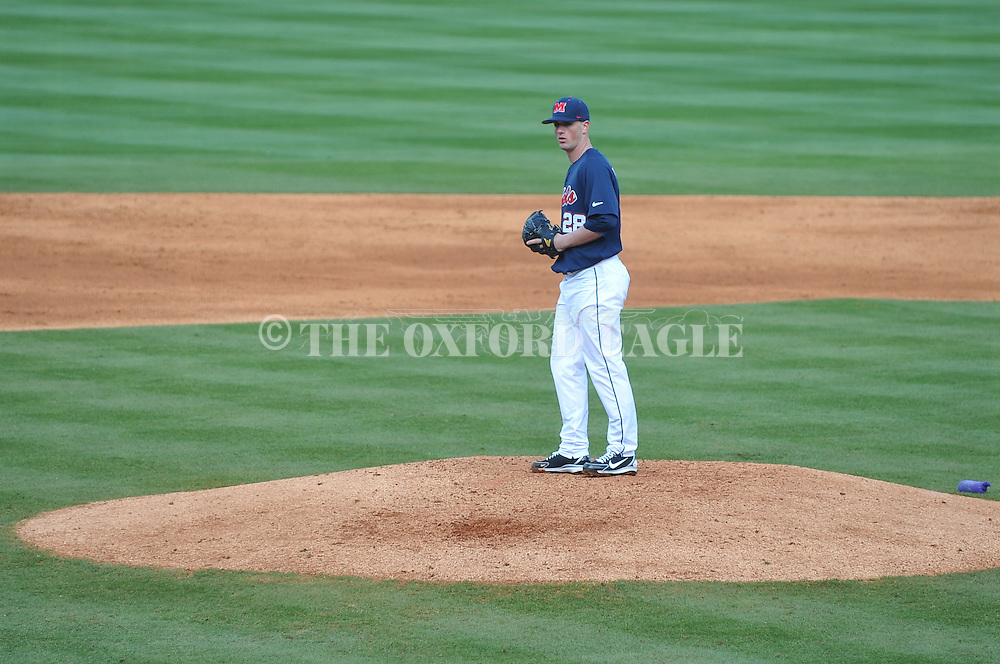 Ole Miss' Mike Mayers (28) pitches vs. TCU at Oxford-University Stadium on Saturday, February 16, 2013. Ole Miss won 5-2.