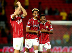 Lloyd Kelly of Bristol City and Niclas Eliasson of Bristol City celebrate the 3-2 victory over Watford - Mandatory by-line: Robbie Stephenson/JMP - 22/08/2017 - FOOTBALL - Vicarage Road - Watford, England - Watford v Bristol City - Carabao Cup
