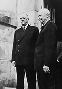 1945: US Chief of the Army Dwight Eisenhower with Charles de Gaulle (1890-1970), leader of the Free French in World War II.