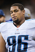 NEW ORLEANS, LA - NOVEMBER 8:  Al Woods #96 of the Tennessee Titans on the sidelines during a game against the New Orleans Saints at Mercedes-Benz Superdome on November 8, 2015 in New Orleans, Louisiana.  The Titans defeated the Saints in overtime 34-28.  (Photo by Wesley Hitt/Getty Images) *** Local Caption *** Al Woods