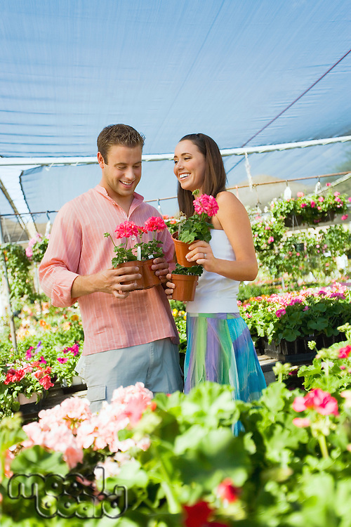 Couple Shopping in Greenhouse