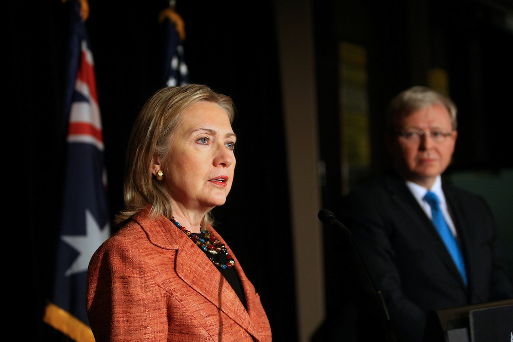 Fwd: Foreign Minister Kevin Rudd &amp; U.S. Secretary of State Hillary.Clinton at a press conference at Melbournes Grand Hyatt Hotel. Pic by Craig.Sillitoe 6/11/2010 melbourne photographers, commercial photographers, industrial photographers, corporate photographer, architectural photographers, This photograph can be used for non commercial uses with attribution. Credit: Craig Sillitoe Photography / http://www.csillitoe.com<br /> <br /> It is protected under the Creative Commons Attribution-NonCommercial-ShareAlike 4.0 International License. To view a copy of this license, visit http://creativecommons.org/licenses/by-nc-sa/4.0/.