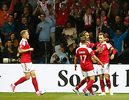 FOOTBALL: Danish players celebrate after the 1-0 goal during the Friendly match between Denmark and Germany at Brøndby Stadion on June 6, 2017 in Brøndby, Denmark. Photo by: Claus Birch / ClausBirch.dk.