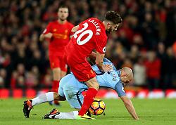 Adam Lallana of Liverpool tackles Pablo Zabaleta of Manchester City - Mandatory by-line: Matt McNulty/JMP - 31/12/2016 - FOOTBALL - Anfield - Liverpool, England - Liverpool v Manchester City - Premier League