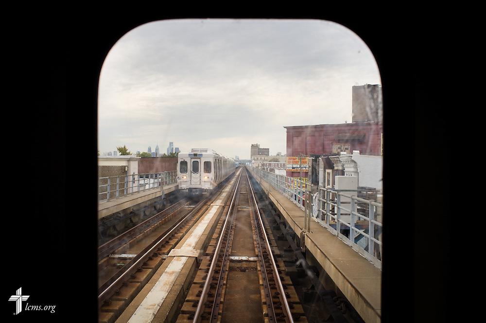The city skyline of Philadelphia is seen from a train on Monday, Nov. 2, 2015, in Philadelphia.  LCMS Communications/Erik M. Lunsford