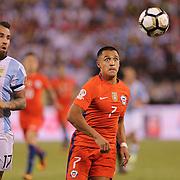 EAST RUTHERFORD, NEW JERSEY - JUNE 26:  Alexis Sanchez #7 of Chile is challenged by Nicolas Otamendi #17 of Argentina during the Argentina Vs Chile Final match of the Copa America Centenario USA 2016 Tournament at MetLife Stadium on June 26, 2016 in East Rutherford, New Jersey. (Photo by Tim Clayton/Corbis via Getty Images)