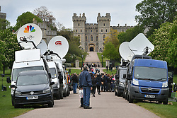 Television crews at work outside the Long Walk, Windsor Castle, following the news of the birth of the Duke and Duchess of Sussex's new baby boy.