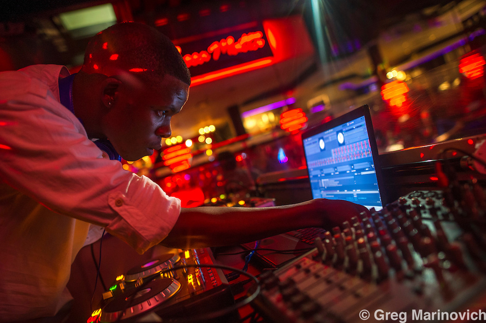Montecasino, Johannesburg, South Africa, Sept 22, 2012. DJ Lutz plays at a club. Photo Greg Marinovich