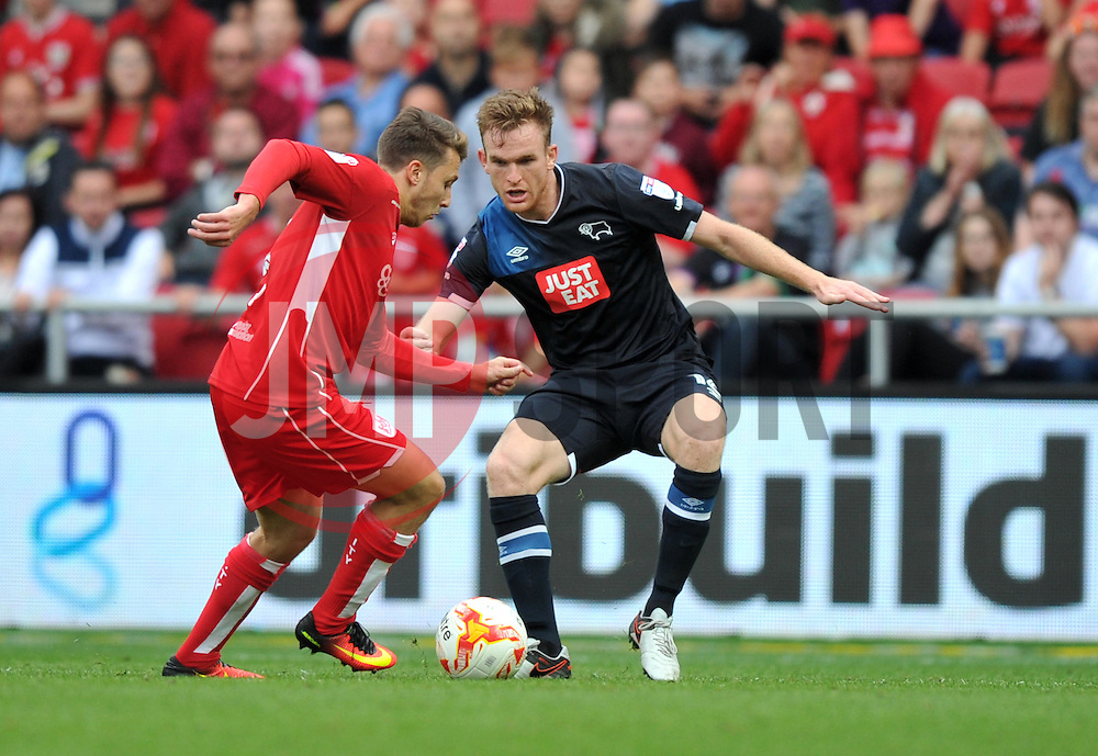 Luke Freeman of Bristol City faces former team mate Alex Pearce of Derby County - Mandatory by-line: Paul Knight/JMP - 17/09/2016 - FOOTBALL - Ashton Gate Stadium - Bristol, England - Bristol City v Derby County - Sky Bet Championship