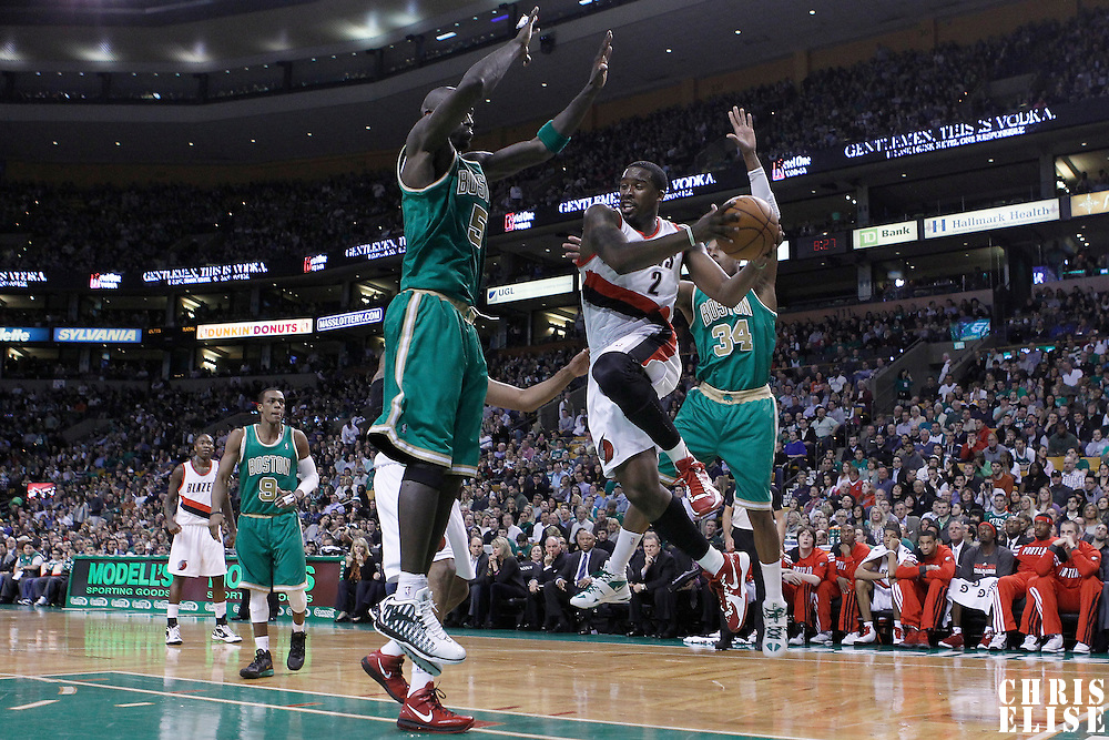 09 March 2012:  Portland Trailblazers guard Wesley Matthews (2) drives past Boston Celtics small forward Paul Pierce (34) and Boston Celtics power forward Kevin Garnett (5) looking to pass the ball during the Boston Celtics 104-86 victory over the Portland Trail Blazers at the TD Banknorth Garden, Boston, Massachusetts, USA.