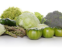 Studio shot of mixed vegetables on white background