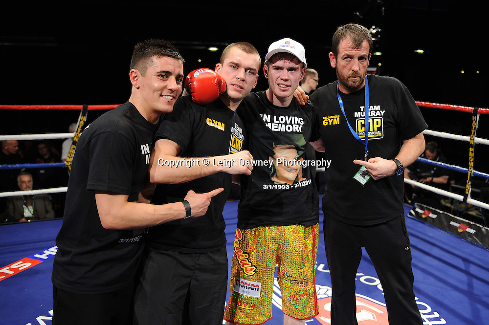Featherweight Joe Murray pictured with team after defeating Daniel Kodjo Sassou at the Reebok Stadium on Saturday 26th February 2011. Hatton Promotions. Photo credit © Leigh Dawney.