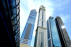 Modern skyscrapers on Sheikh Zayed Road in Dubai United Arab Emirates