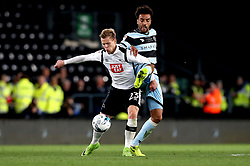 Darnell Furlong of Queens Park Rangers tackles Matej Vydra of Derby County - Mandatory by-line: Robbie Stephenson/JMP - 31/03/2017 - FOOTBALL - iPro Stadium - Derby, England - Derby County v Queens Park Rangers - Sky Bet Championship