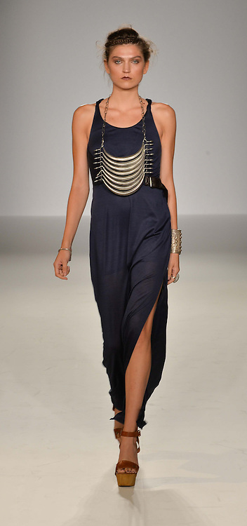 Model at the Gyunel Spring Summer 2015 fashion show as part of London Fashion week 2015 held at Victoria House, Bloomsbury Square, London on 12th September 2014.