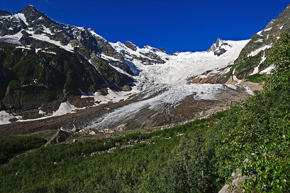 Russia, Caucasus, Teberdinsky Biosphere reserve, Alibek glacier in Alibek valley near Dombay.