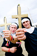 Two men dressed up as Nuns. Global Gathering festival, Long Marston Airfield, Stoke on Trent, UK. 28/29 July 2006