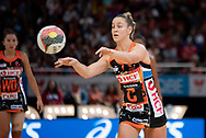 SYDNEY, NSW - JUNE 16: Jamie-Lee Price of the Giants passes the ball during the round 8 Super Netball match between the Sydney Swifts and the Giants at Qudos Bank Arena on June 16, 2019 in Sydney, Australia.(Photo by Speed Media/Icon Sportswire)