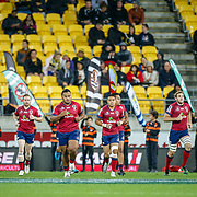 Res player run on Super rugby union game (Round 14) played between Hurricanes v Reds, on 18 May 2018, at Westpac Stadium, Wellington, New  Zealand.    Hurricanes won 38-34.